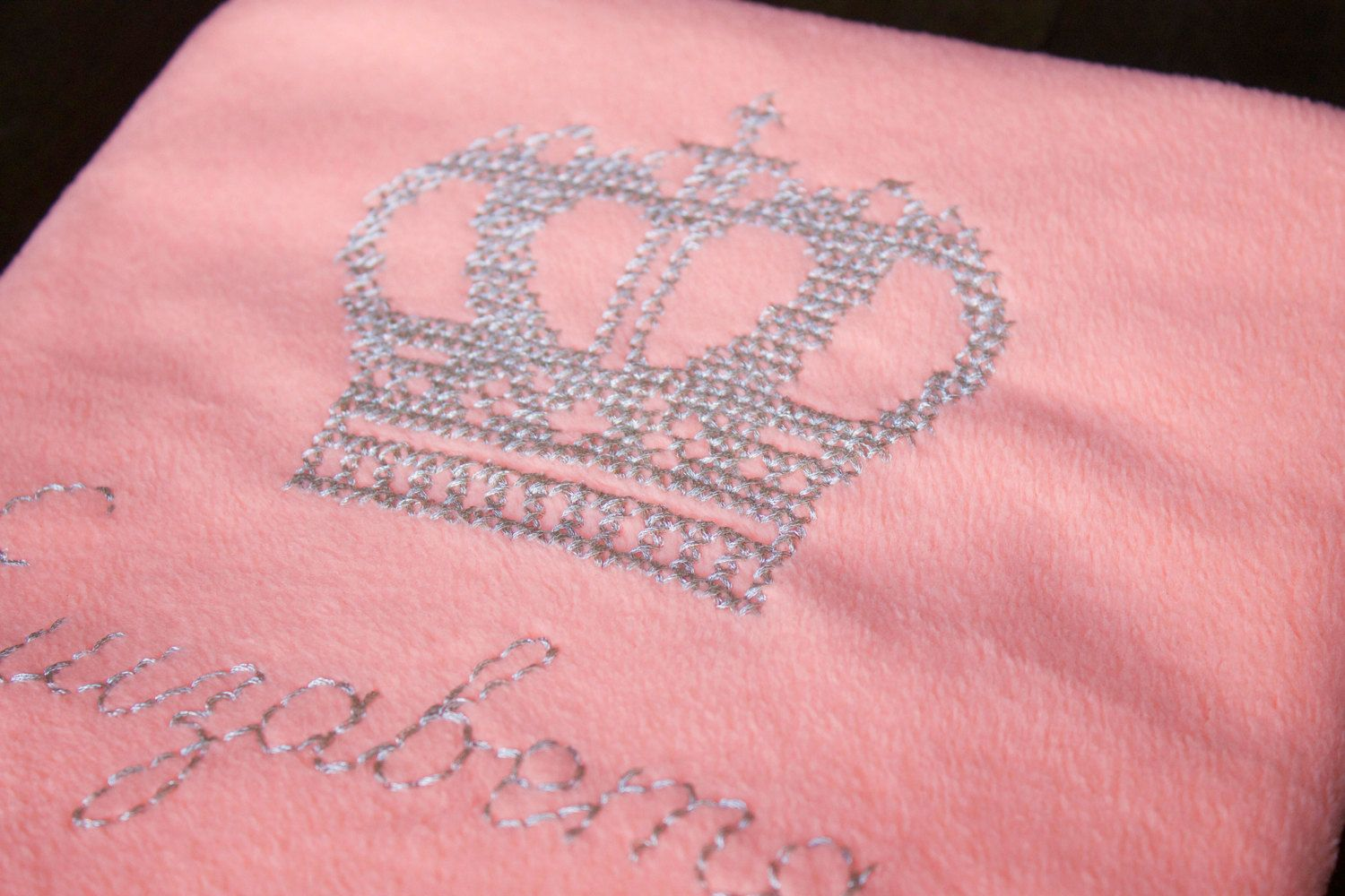 Fleece Blanket With Hand Embroidered Personal Crown