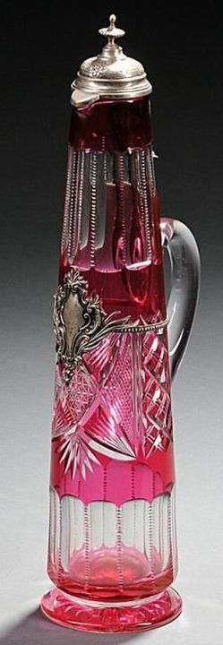 Cut Glass; Ewer, Cranberry Cut to Clear, Hinged Silver Mount, 16 inch.