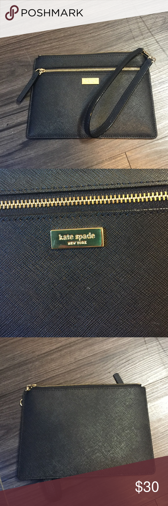 Kate Spade Wristlet Go out in style with this Kate Spade Wristlet. . Inside has slots for IDs and cards. Has been used once. Picture shows marks on gold emblem. No other stains or marks. kate spade Bags Clutches & Wristlets