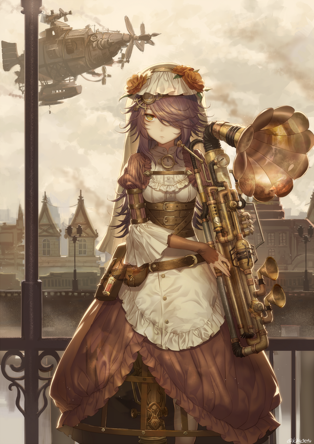 anime girl wallpaper alien space and steampunk