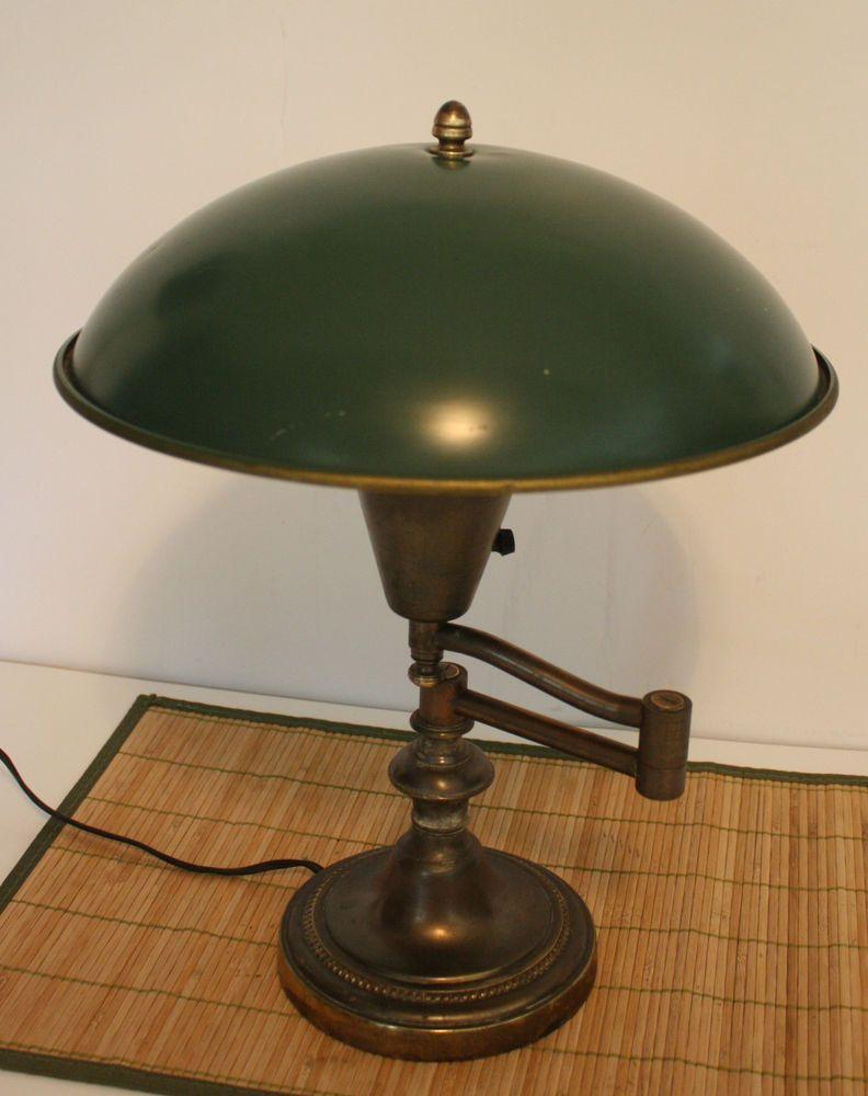 Vintage brass swing arm desk lamp green metal dome shade 16h vintage brass swing arm desk lamp green metal dome shade 16h geotapseo Gallery
