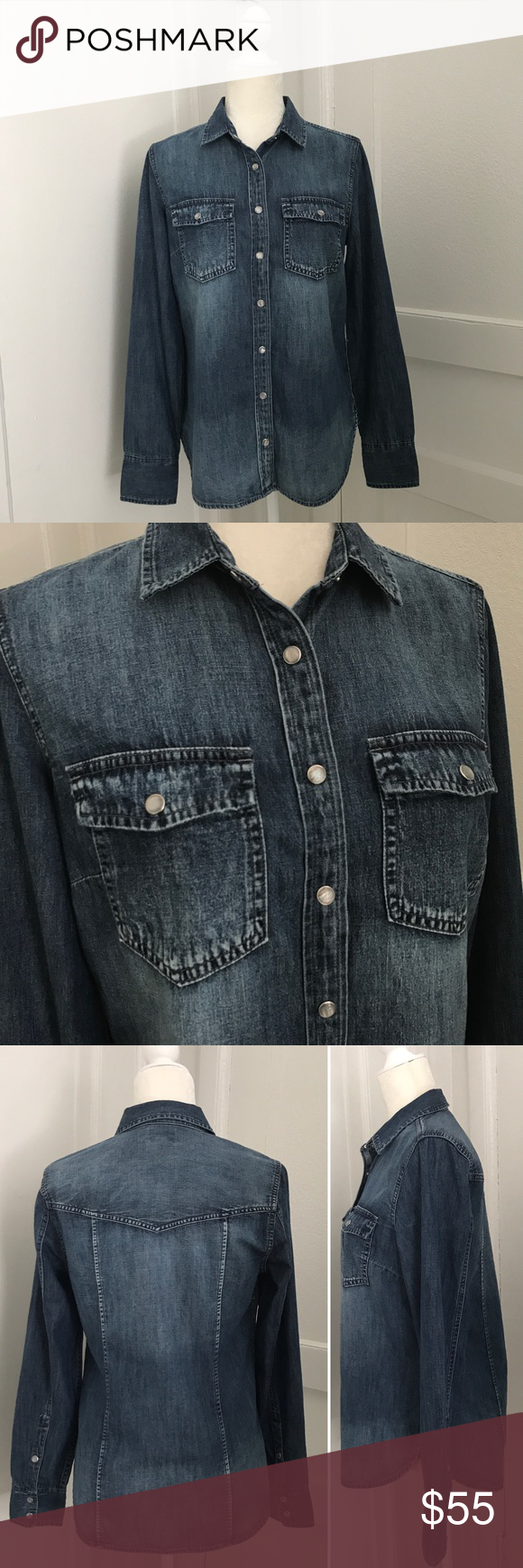 203ff9853b J. Crew Western Chambray Shirt In Vintage Indigo New with tags! Snap ...