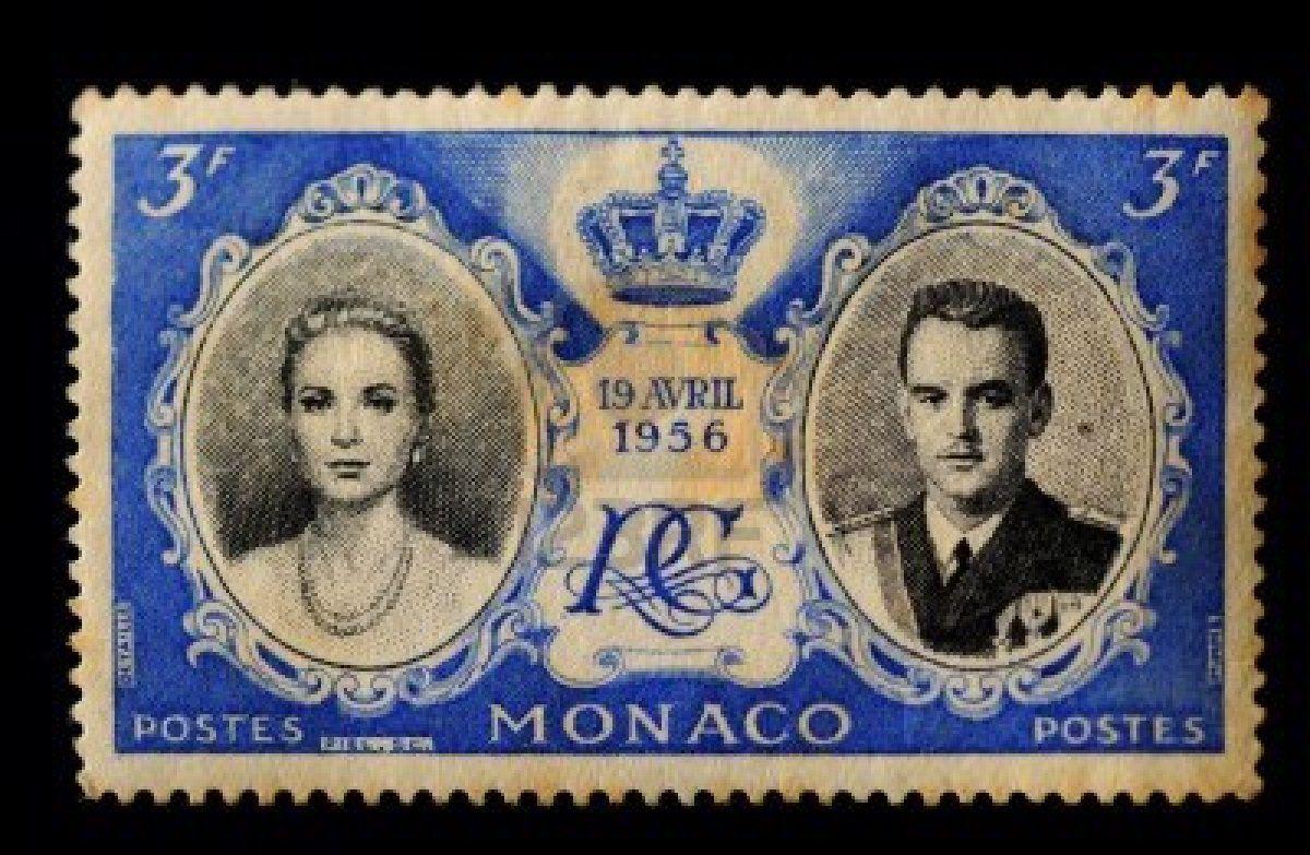 Monaco -circa 19 APRIL 1956, Postal stamp showing Prince Rainier and Grace Kelly   19 April 1956