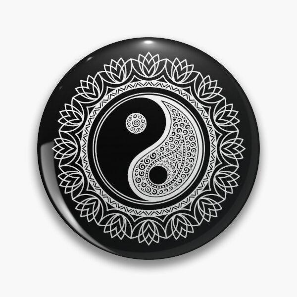 Yin Yang Symbol In A Mandala White Pin Button By Rcmorigami In 2021 Yin Yang Yin Symbols