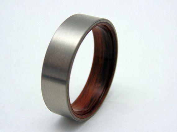 Titanium And Wood Ring Bentwood Rosewood Lined Satin Titanium Etsy Titanium Wedding Rings Mens Wedding Rings Titanium Mens Wedding Rings