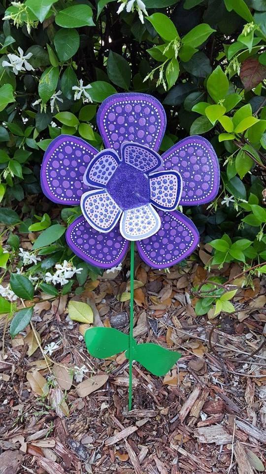 Purple Metal Flower Garden Stake Garden Art Yard Art Metal