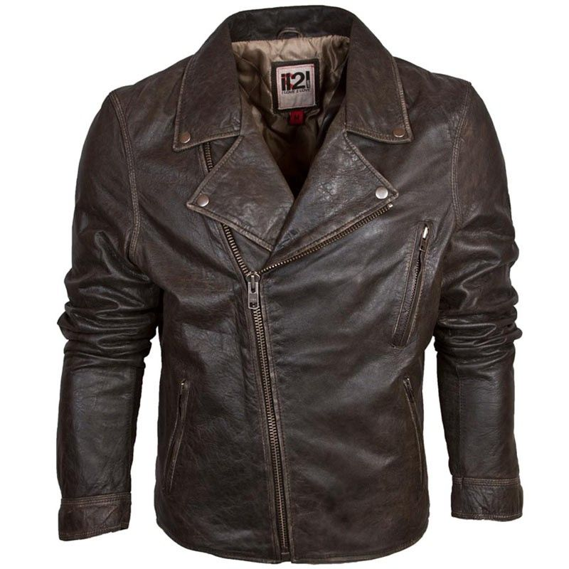 IL2L Men&39s Vintage Brown Asymmetric Leather Biker Jacket £140.00