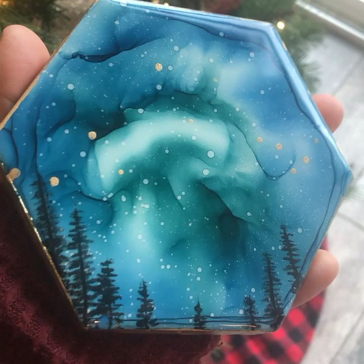 Alcohol ink art coaster