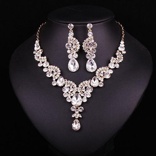 Fashion Sapphire Rhinestone Bridal Jewelry Set Wedding Prom Party