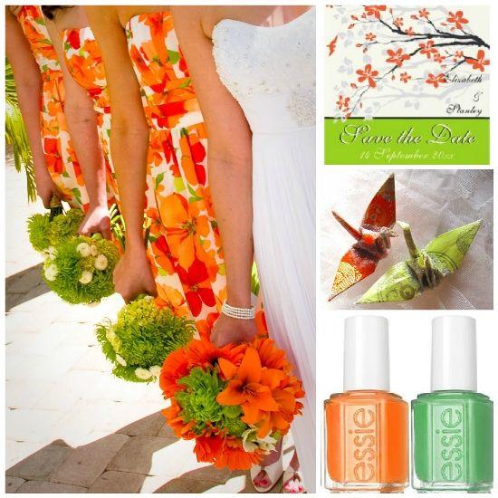 orange and green weddings tangerine orange and lime green wedding