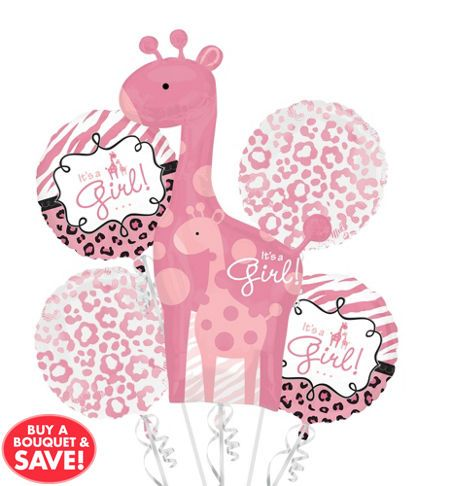 Pink Safari Baby Shower Dinner Plates   Party City
