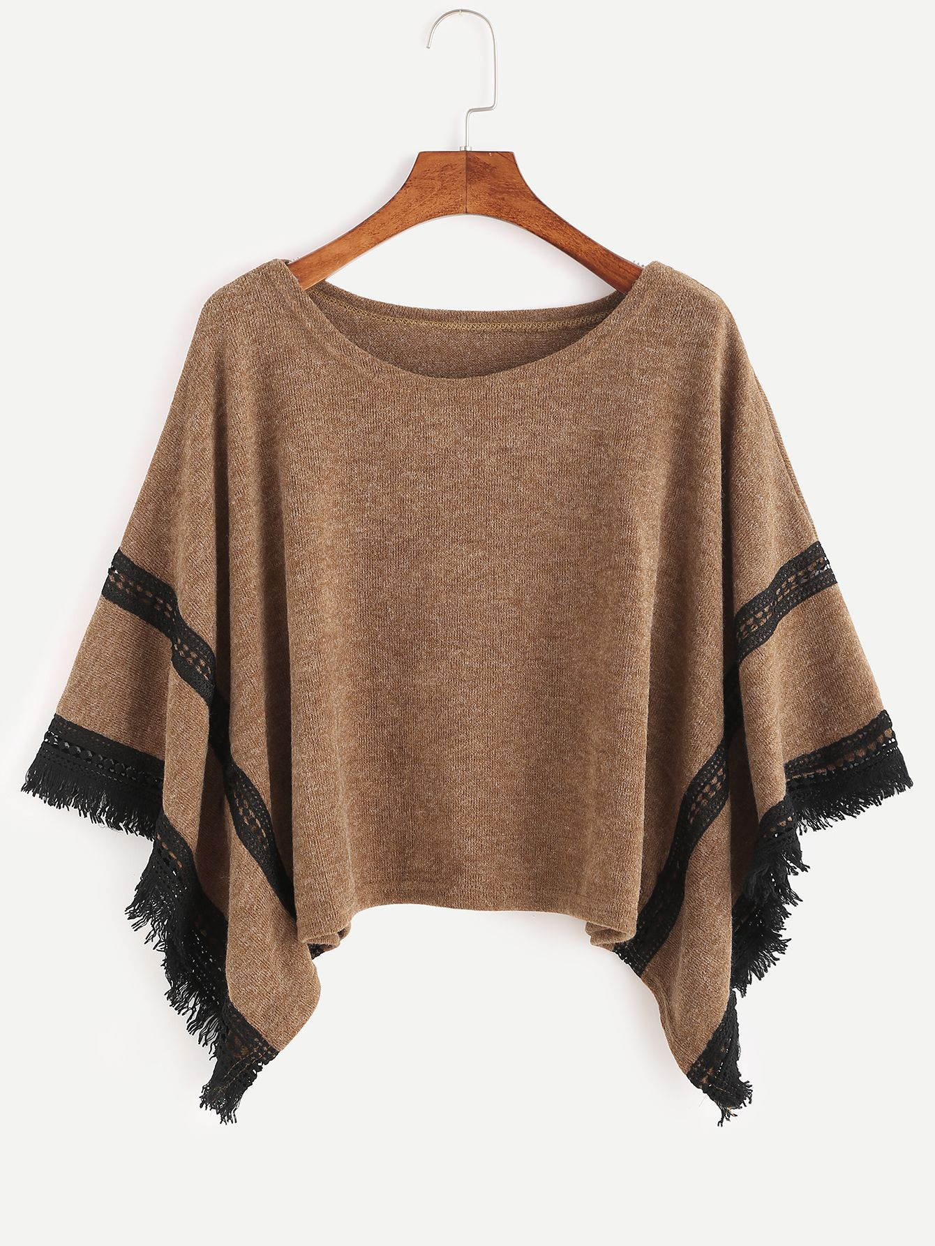 Khaki Contrast Crochet Fringe Hem Poncho Sweater | Crochet fringe ...
