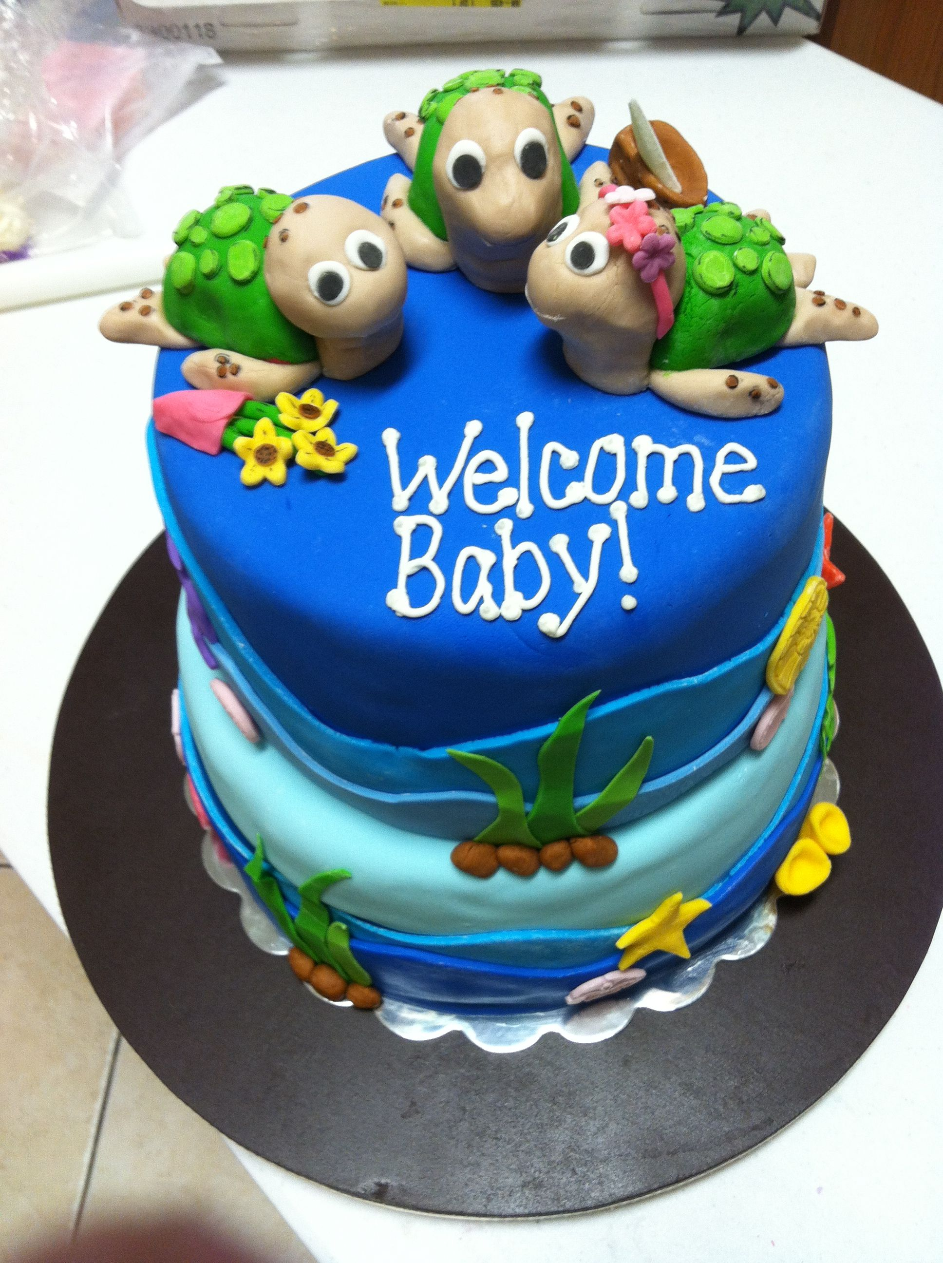Sea turtle baby shower cake by C.R. Sweets