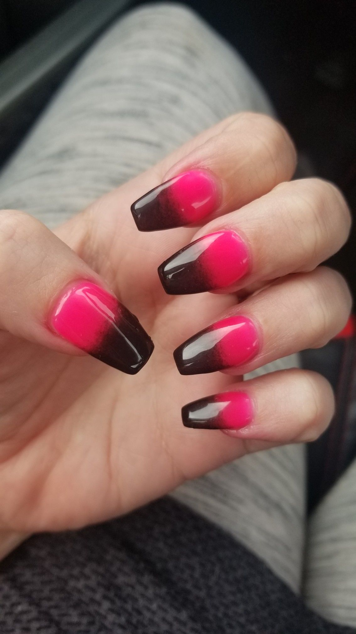 Pink And Black Ombre Nails Dip Polish Black Ombre Nails Ombre Nails Nails