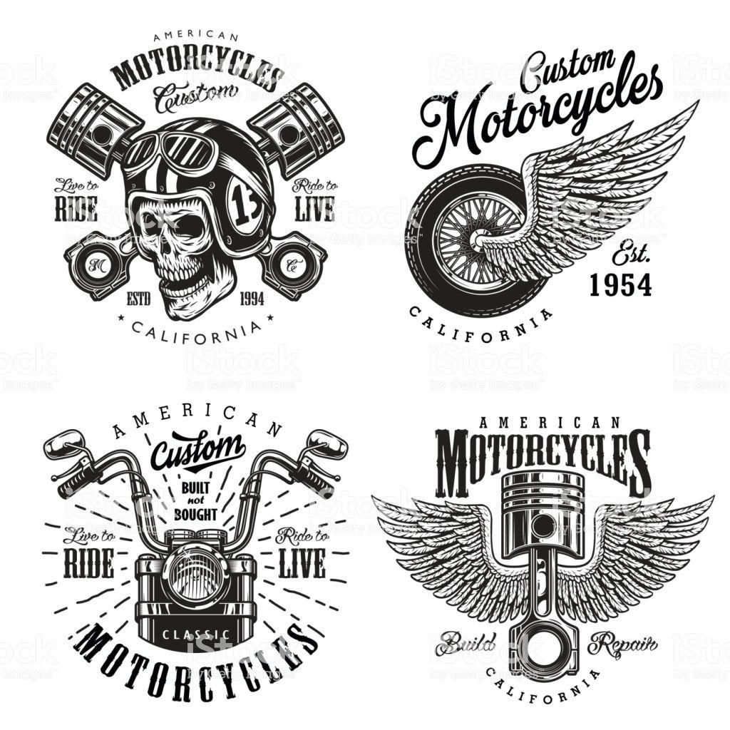 Set of vintage custom motorcycle emblems, labels, badges