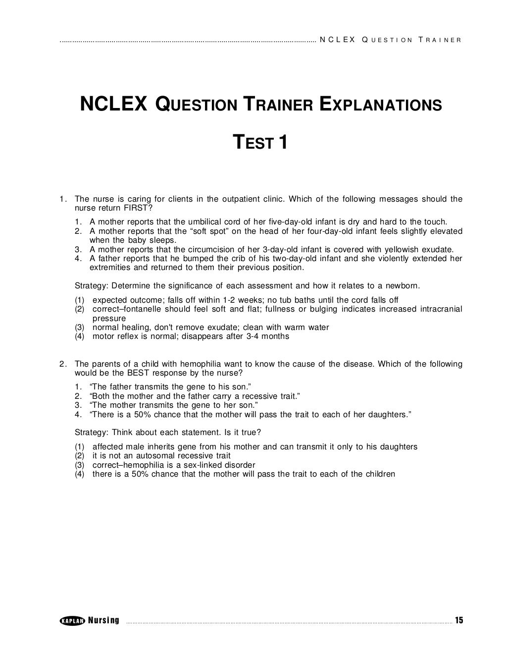 Nclex Question Trainer Explanations Test 1 By Nurse Reviewdotorg Via Slideshare