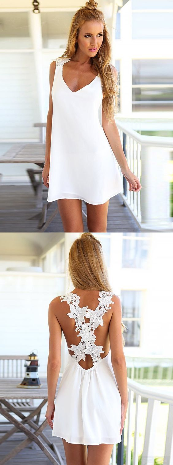 Simple white homecoming dresscirss cross back party gowns summer