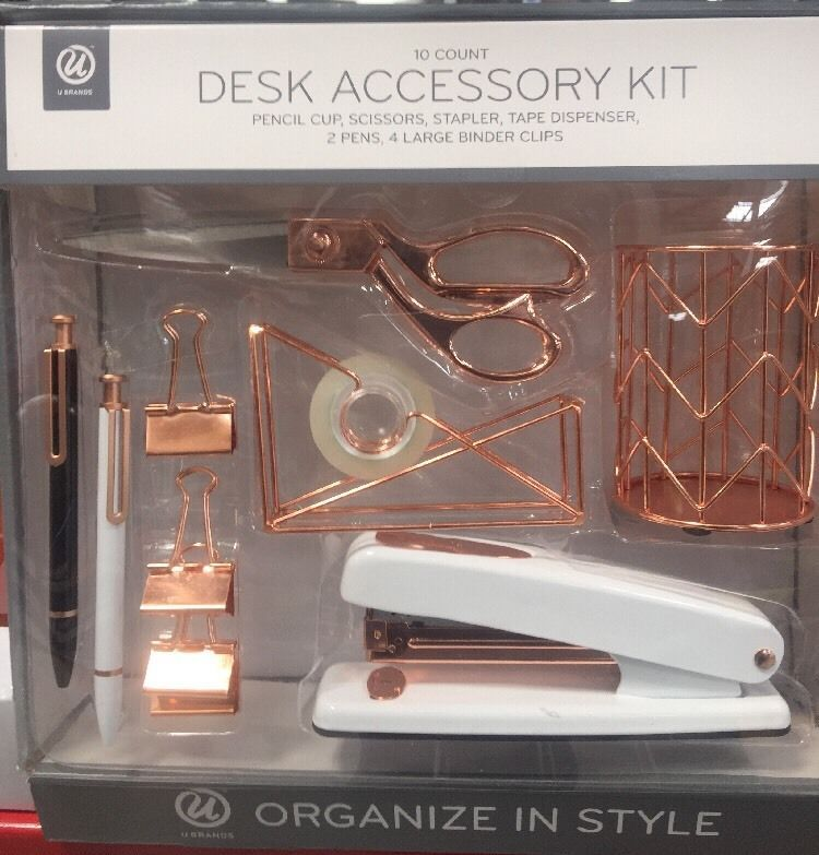 Office Supplied Desk Organizer accessories complete 10 Pcs Kit Set  rose gold is part of Diy desk decor - Desk Accessory Organization Kit, Rose Gold DescriptionThis 10piece desk organization kit is as functional as it is beautiful! It makes a great g