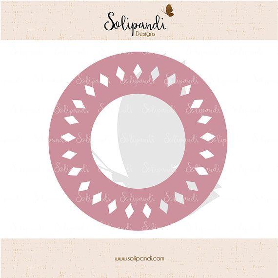 Circle monogram frame  diamond shape  SVG Cut by SolipandiDesigns