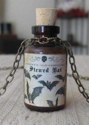 Stewed Bat Potion Poison Bottle Necklace Pendant Apothecary Vial