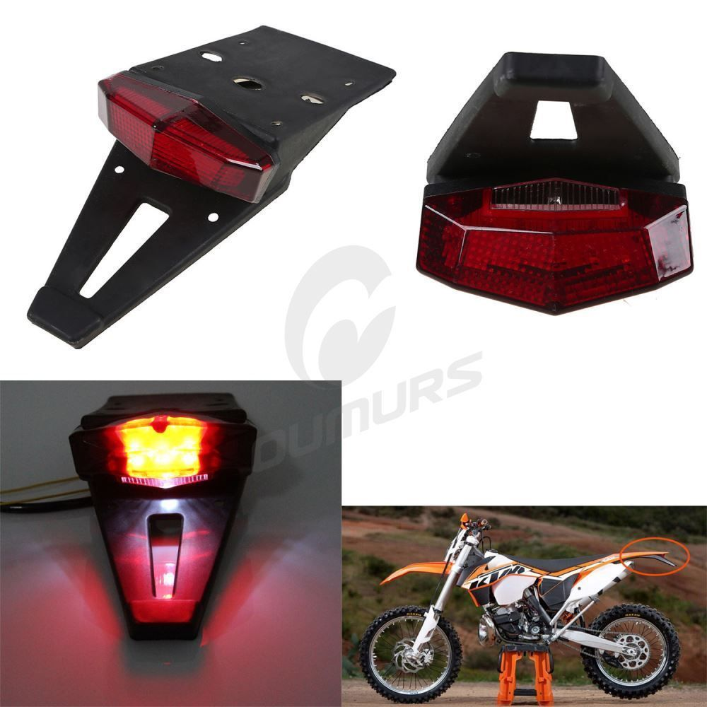 Universal Motorcycle Dirt Enduro Bike LED Rear Fender Brake Tail Light Lamp USA