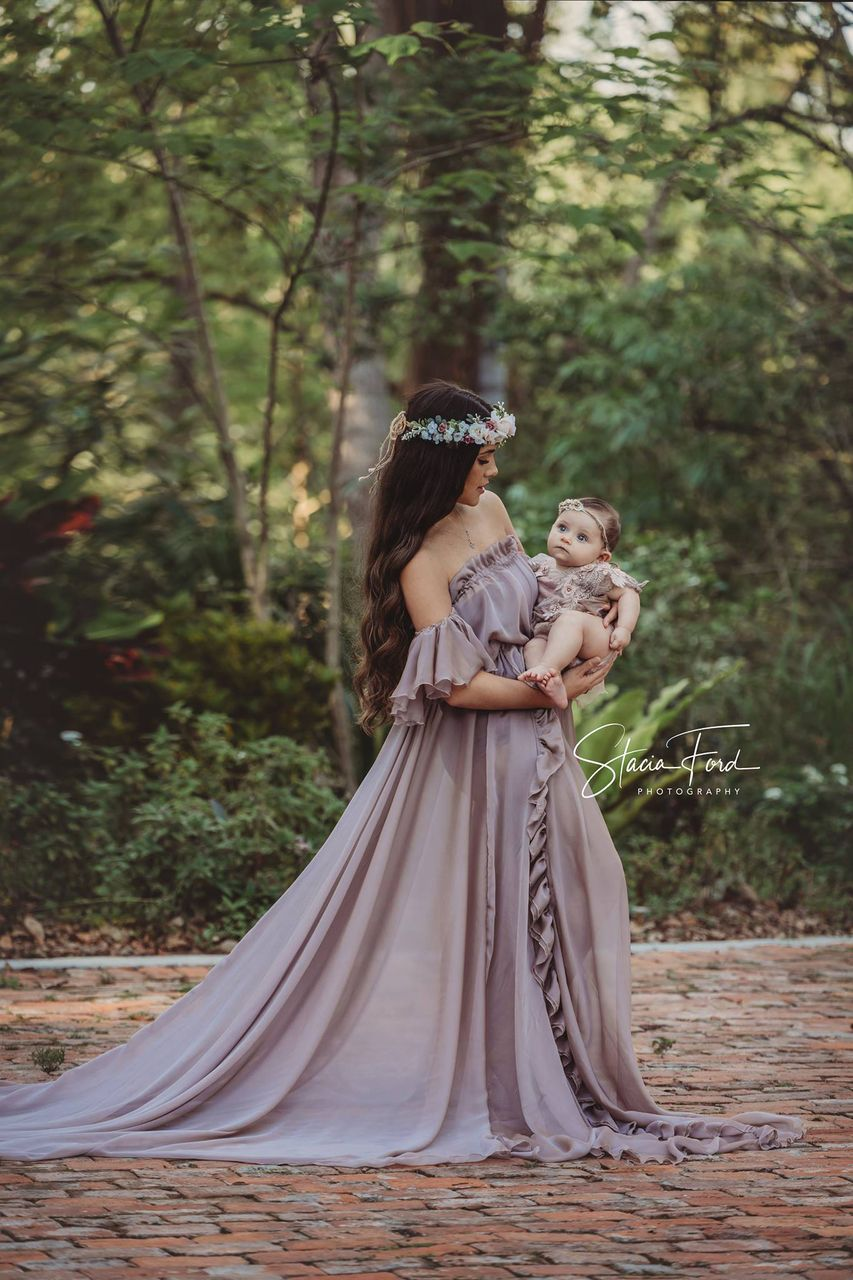 15e1af66431 Gabriella Gown with Ruffles and Flutter Sleeves - Silk Fairies Maternity  Gowns