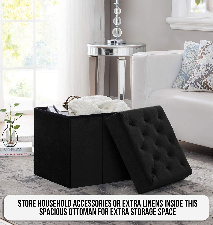 Amazing Foldable Velvet Tufted Storage Ottoman Square Round Cube Inzonedesignstudio Interior Chair Design Inzonedesignstudiocom