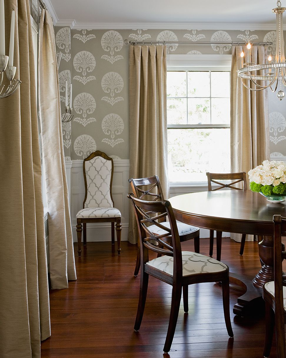 This Classic Colonial Dining Room Features Schumacher Fabrics In Both The Curtains And Upholstered Chairs