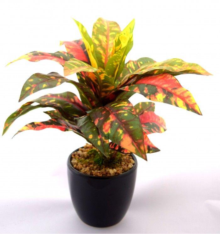 24 cm tall decorative artificial dracaena plant in a chic ceramic pot yellow