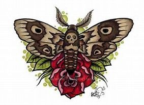 Image result for Moth Tattoo Old School