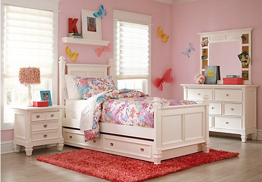 Shop for a Belmar White 5 Pc Twin Poster Bedroom at Rooms To Go
