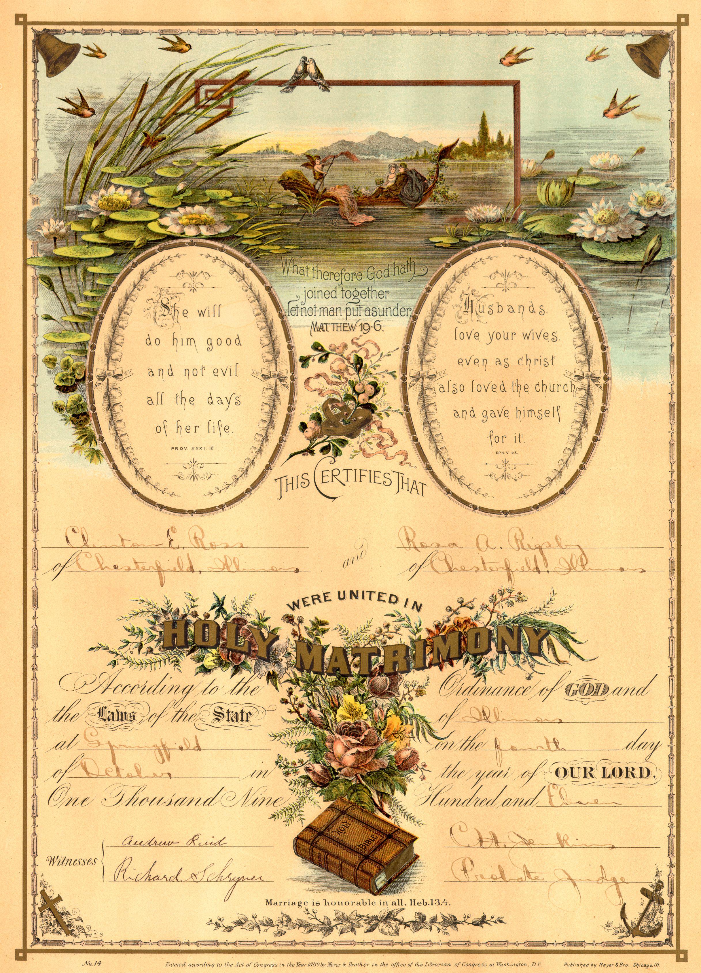 Vintage Marriage Certificate Bride Stuff Pinterest Marriage