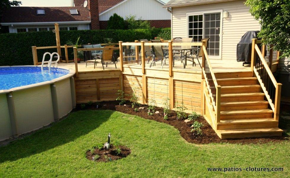 patio avec grand deck de piscine hors terre et rampe de verre patio pinterest rampes. Black Bedroom Furniture Sets. Home Design Ideas