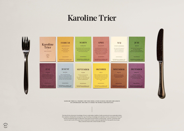 Karoline Trier Seasonal Recipe Business Cards For Copenhagen Chef