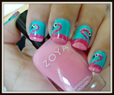 Southern Sister Polish: Nail Art Wednesday......Flamingos