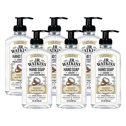 Amazon Com Jr Watkins Gel Hand Soap Coconut 6 Pack Scented Liquid Hand Wash For Bathroom Or Kitchen Usa Made And Cruelty Free 11 In 2020 Soap Hand Washing Scent