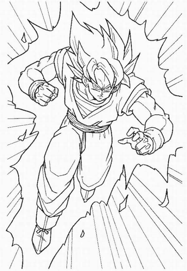 Goku Super Saiyan Form In Dragon Ball Z Coloring Page Jpg 600 869 Super Coloring Pages Dragon Ball Art Goku Drawing