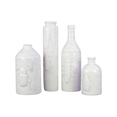 Urban Trends Ceramic Vase with Insect Relief Set of Four White