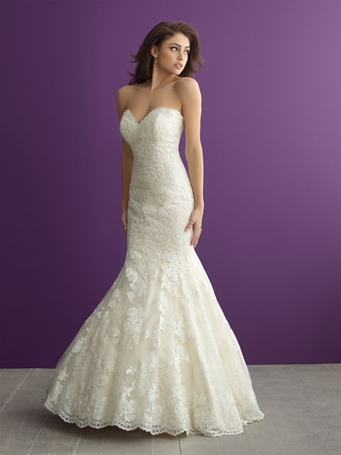 Allure Romance 2965 Strapless Lace Trumpet Wedding Gown Layered Train Sweetheart Neckline