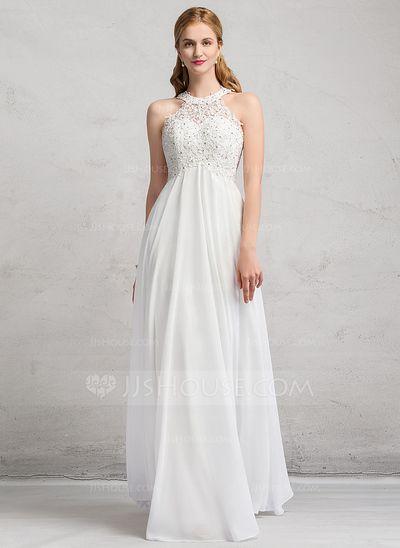 64b87cb4a  € 156.90  Corte imperial Escote redondo Hasta el suelo Chifón Encaje  Vestido de novia con Cuentas (002081899)