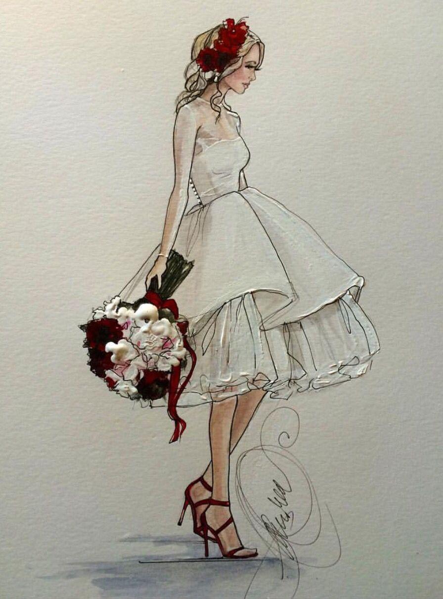 Wedding dress drawing  karenorrillustration Be InspirationalMz Manerz Being well