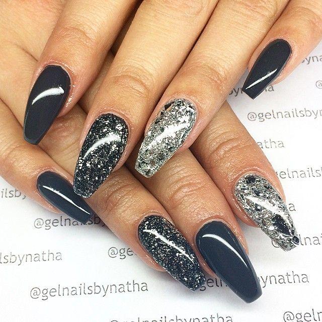 Gray And Black Nail Designs: Nails, Gray Nails, Glitter Nails