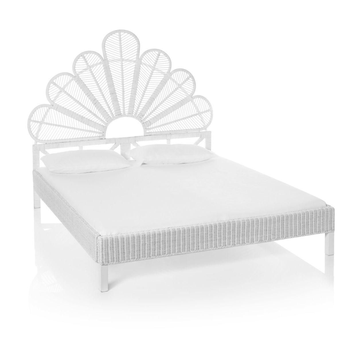 Bett Verzierter Kopfteil Ethno Look Rattan Holz Schlafzimmer