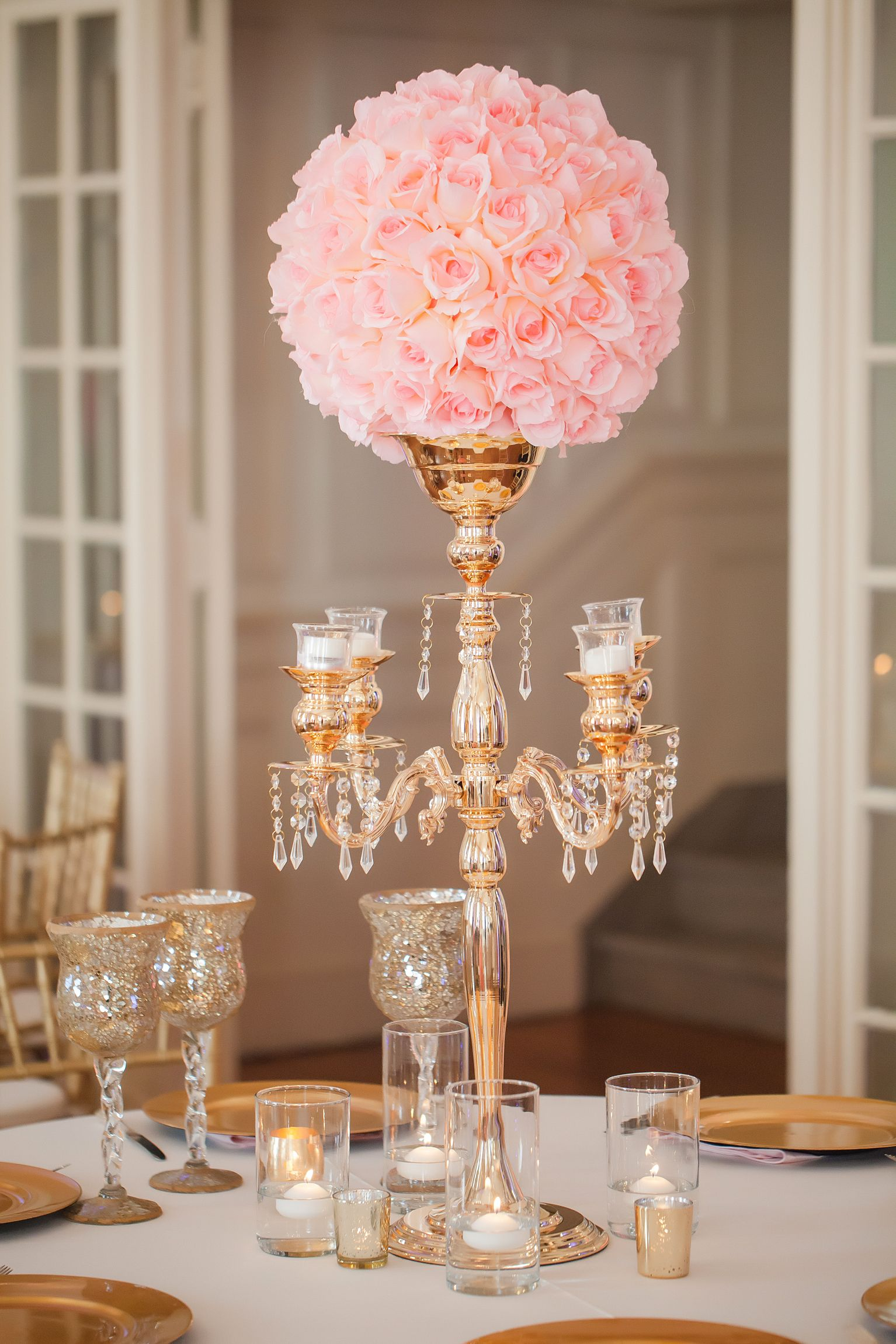 Pink Centerpiece : Gold candelabra pink rose wedding reception centerpiece