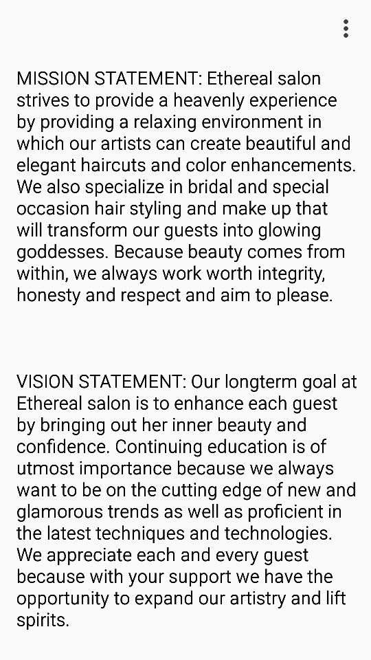 Mission  Vision Statements  Salon Project Ethereal Salon