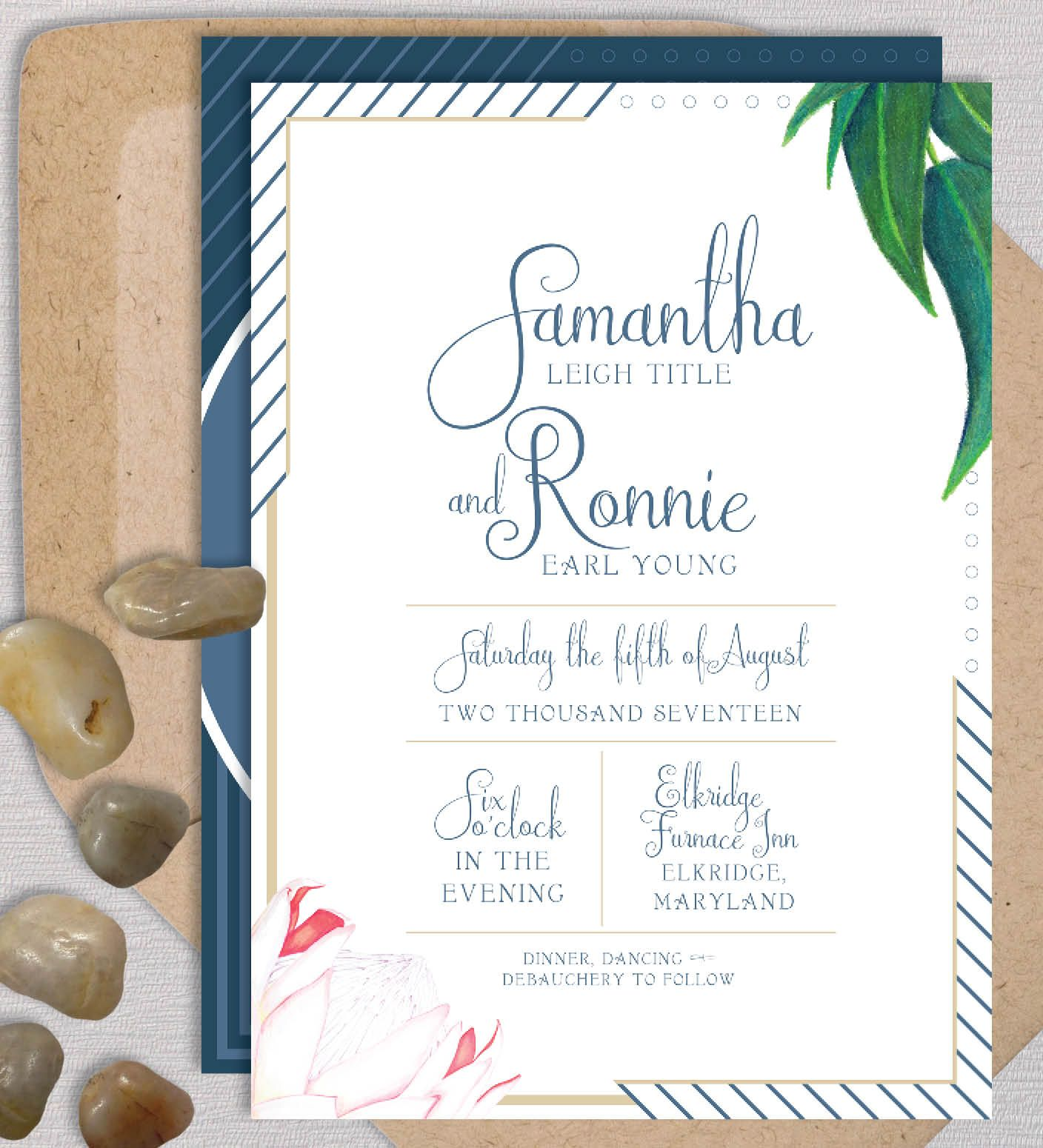 profound protea wedding invitation suite by ealexdesigns