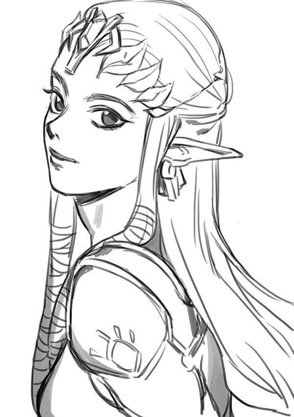 Princess Zelda Drawing : princess, zelda, drawing, Rkgk(2)」/「Mellalyss」のイラスト, [pixiv], Zelda, Tattoo,, Drawing,