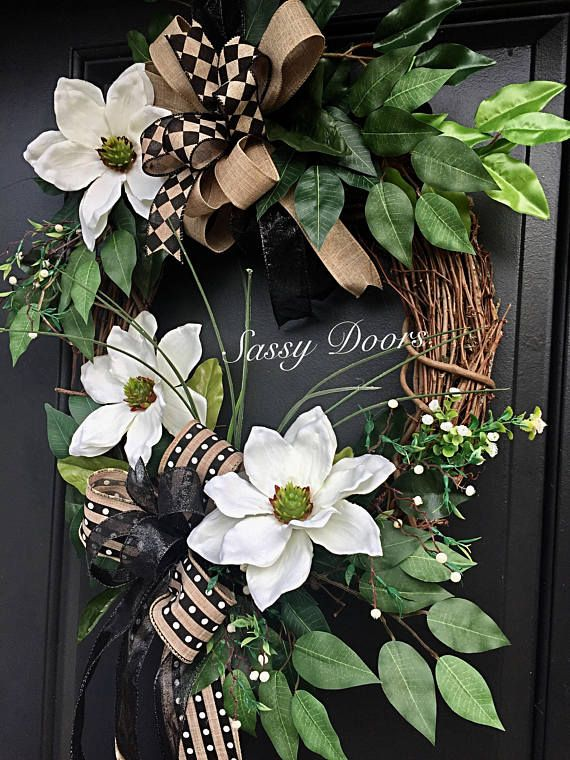 Genial Magnolia Wreath Boxwood Wreath Grapevine Wreath Year Round Door Wreath   Greenery Wreath  Monogram Wreath