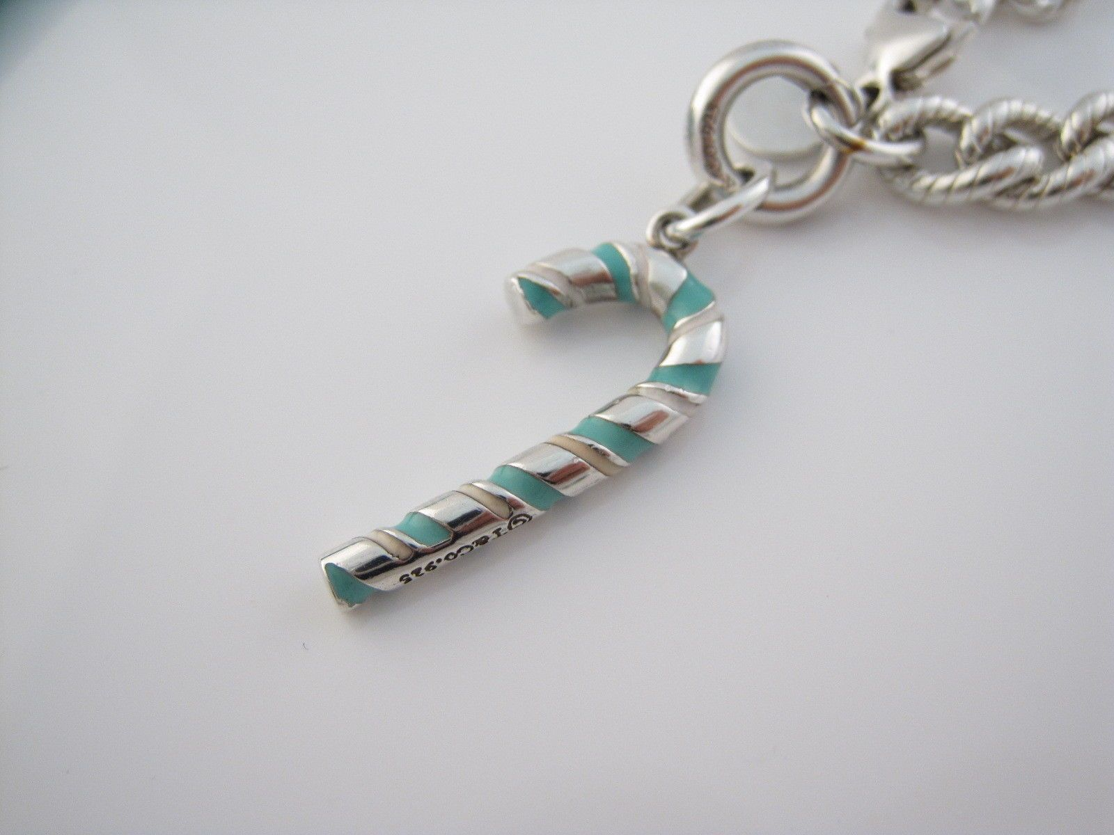f8d779445882 Details about Tiffany   Co Silver Blue Enamel Candy Cane Charm ...
