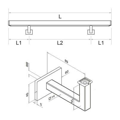 Stainless Steel Square Handrail with Angle Plate Bracket ...